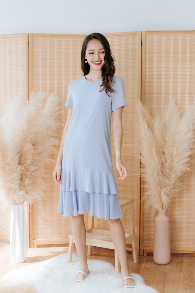Isadora Tiered Hem Midi Dress in Powder Blue