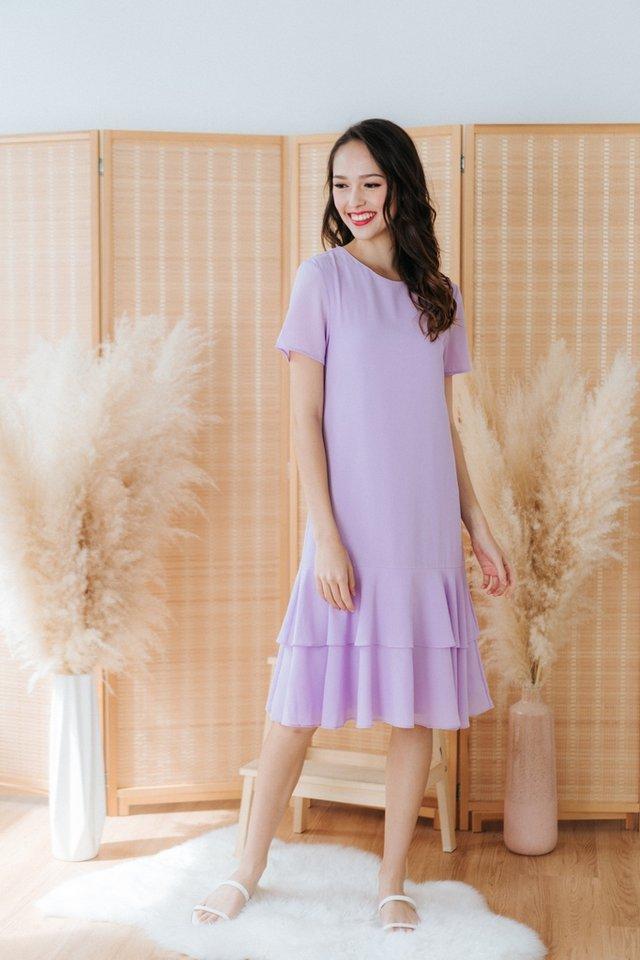 Isadora Tiered Hem Dress in Lavender