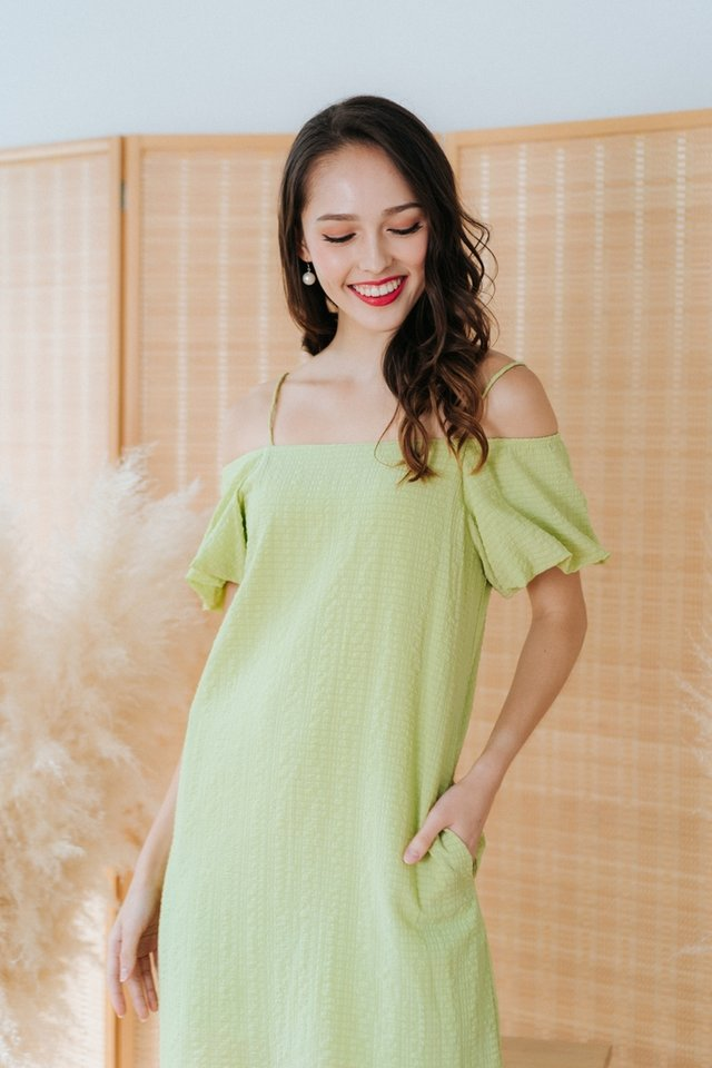 Claire Textured Cold-Shoulder Dress in Avocado