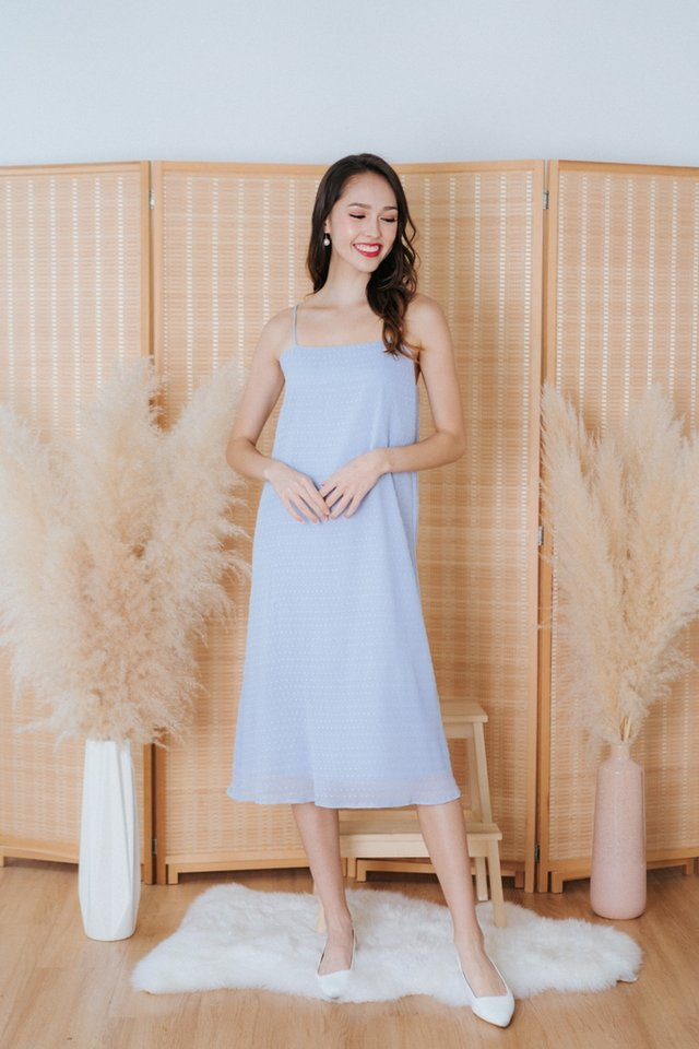 Laleh Swiss Dot Camisole Midi Dress in Blue