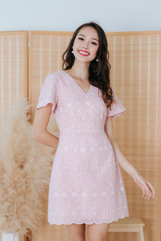 Sabina Eyelet Faux Wrap Dress in Pink