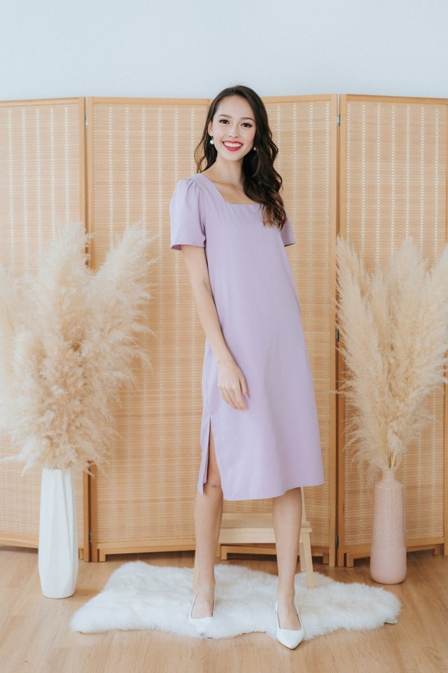 Tanzanna Square Neck Midi Dress in Lilac