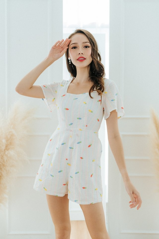 Niyah Carrot Embroidery Romper in White