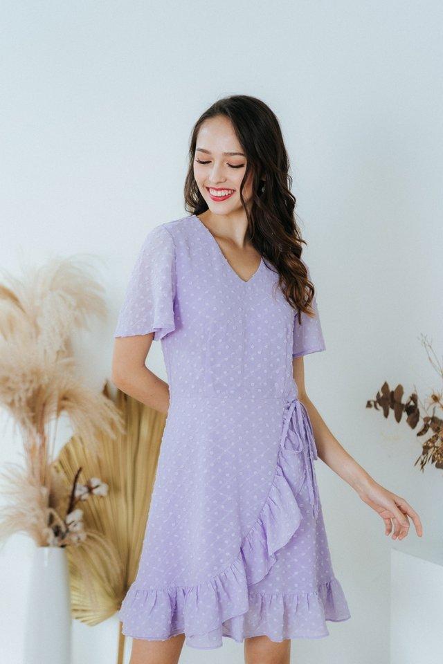 Cora Swiss Dot Signature Ruffles Dress in Lilac