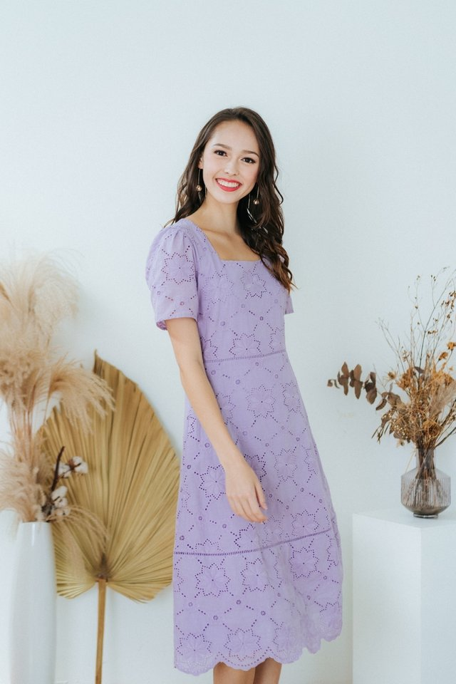 Ellie Square Neck Eyelet Midi Dress in Lilac