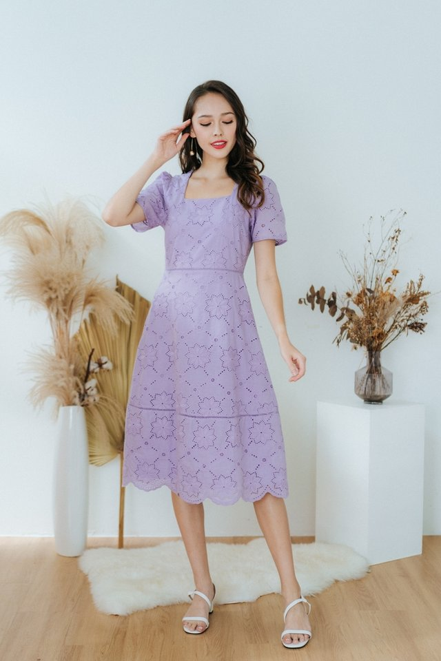 Ellie Square Neck Eyelet Midi Dress in Lilac
