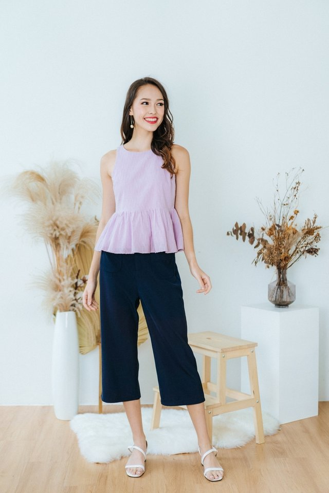 Faye Textured Babydoll Top in Lilac