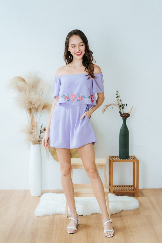 Ellery Floral Embroidery Off-Shoulder Romper in Lilac