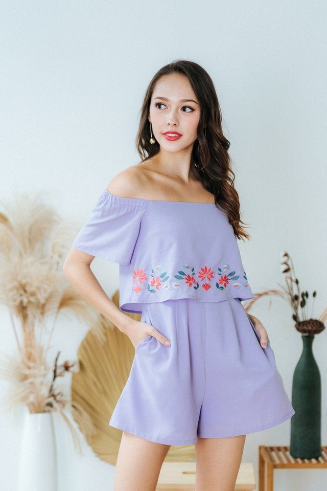Ellery Floral Embroidery Off-Shoulder Romper in Lilac