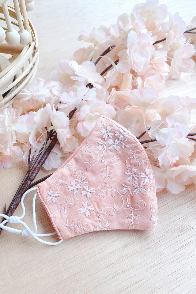 TSW Oaklee Floral Embroidery Mask in Peach