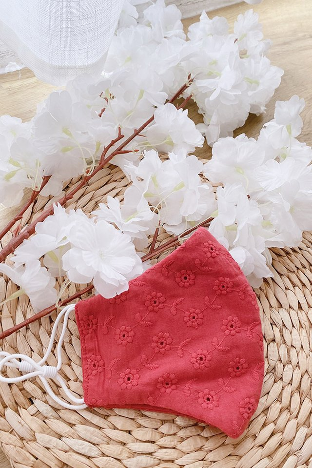 TSW Rosalynn Floral Lace Mask in Rose Red