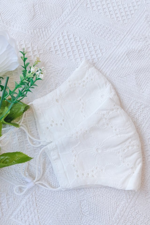 TSW Dorothea Floral Eyelet Mask in White