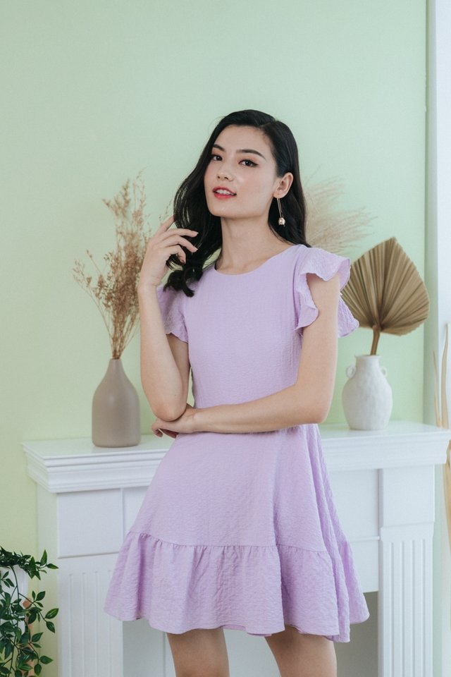 Summer Ruffles Hem Dress in Lilac