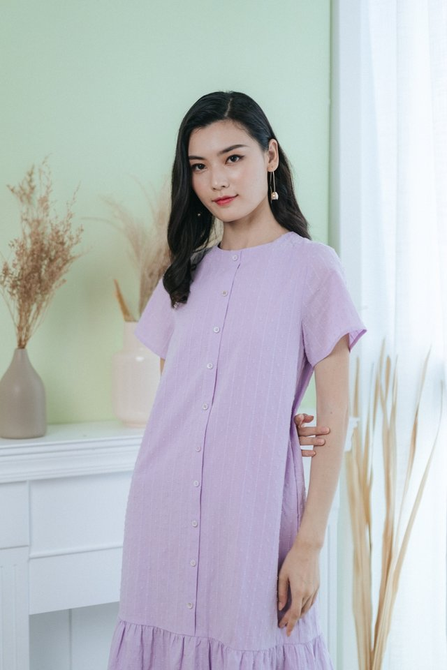 Sarina Swiss Dot Button Midi Dress in Lilac