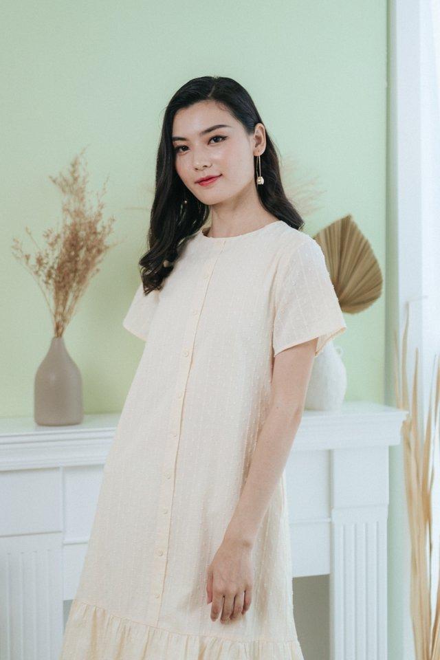 Sarina Swiss Dot Button Midi Dress in Cream
