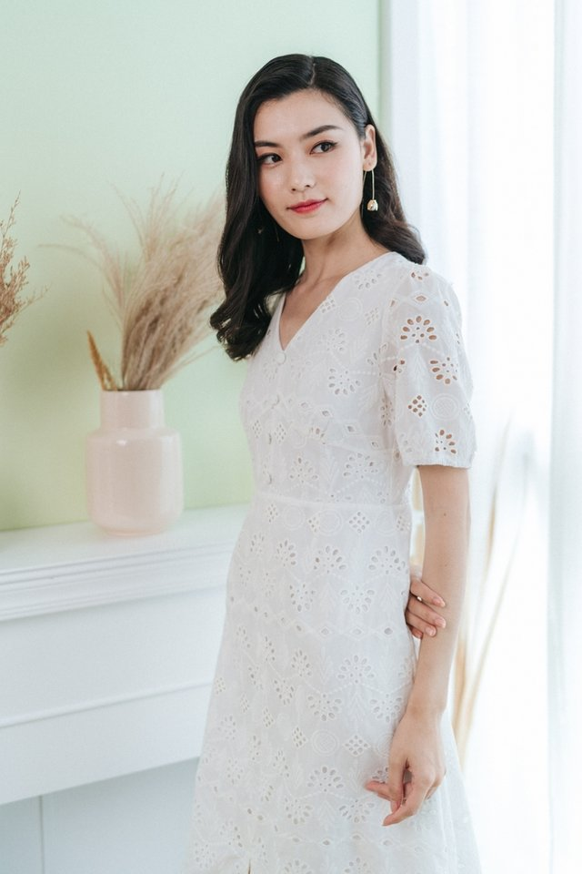 Corinne Eyelet Button Midi Dress in White
