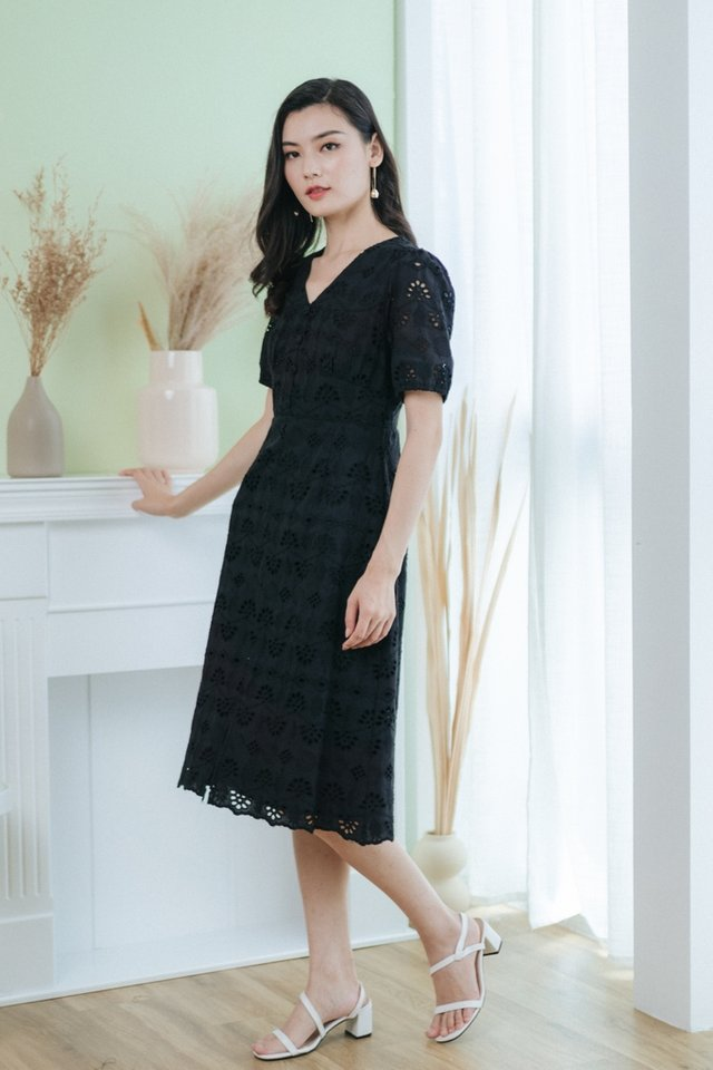 Corinne Eyelet Button Midi Dress in Black