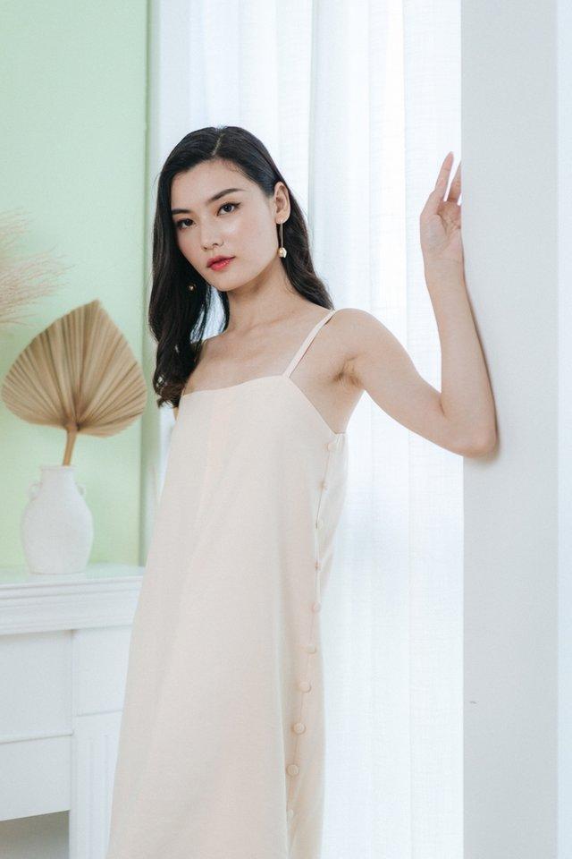Jacelyn Side Button Midi Dress in Cream