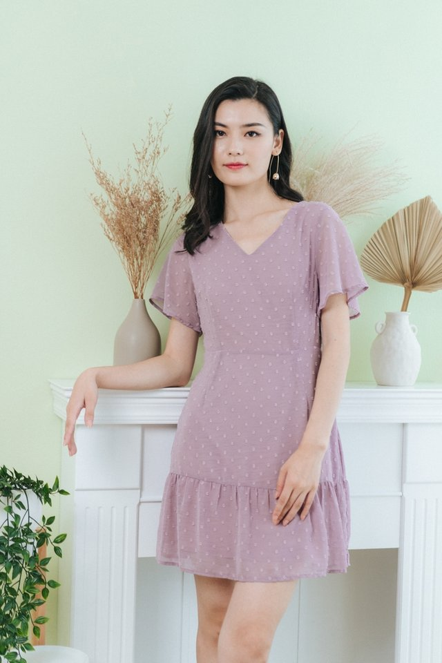 Karely Swiss Dot Dropwaist Dress in Dusty Lilac