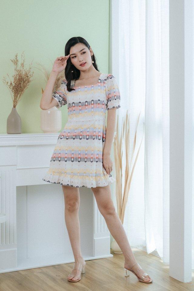 Devona Rainbow Eyelet Dropwaist Dress in White