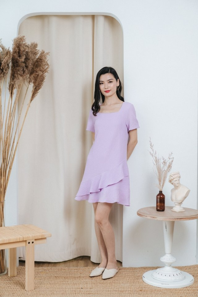 Paola Textured Tiered Ruffles Dress in Lilac