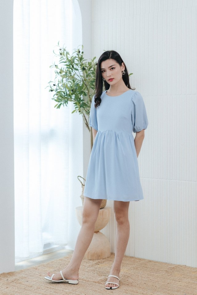 Jamie Scallop Babydoll Dress in Baby Blue