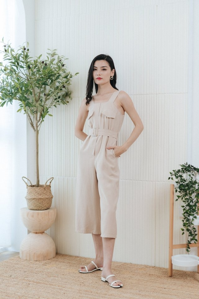 Paulina Pocket Jumpsuit in Sand