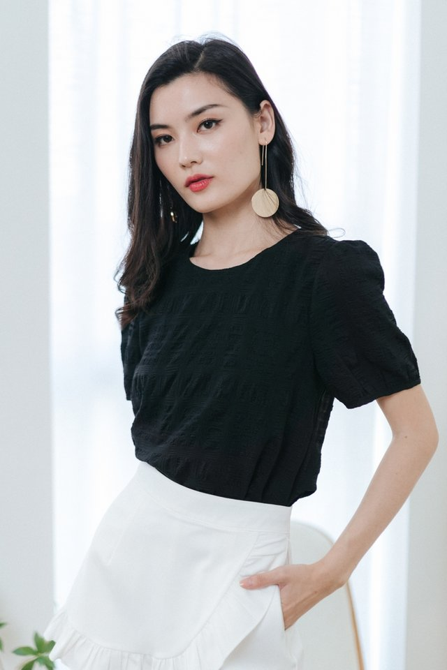 Marie Textured Puffed Sleeves Top in Black