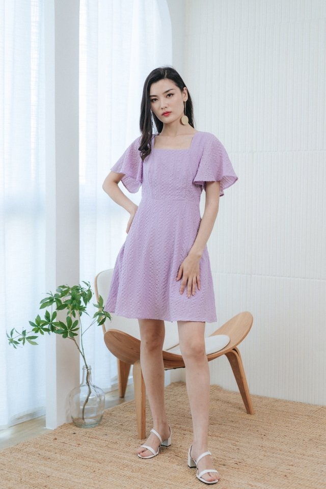 Hailee Textured Square Neck Dress in Lilac