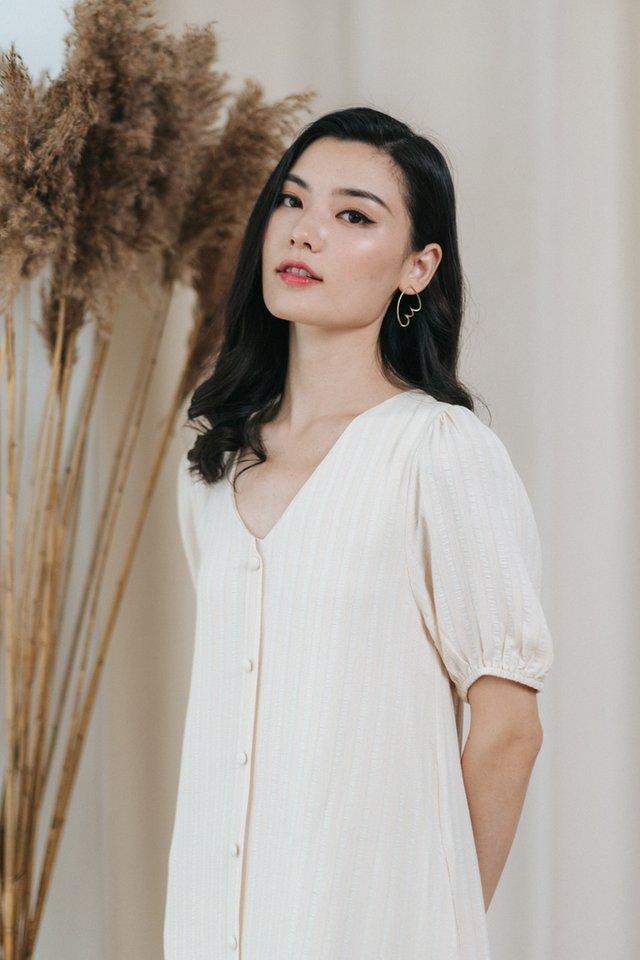 Kamila Textured Button Midi Dress in Cream