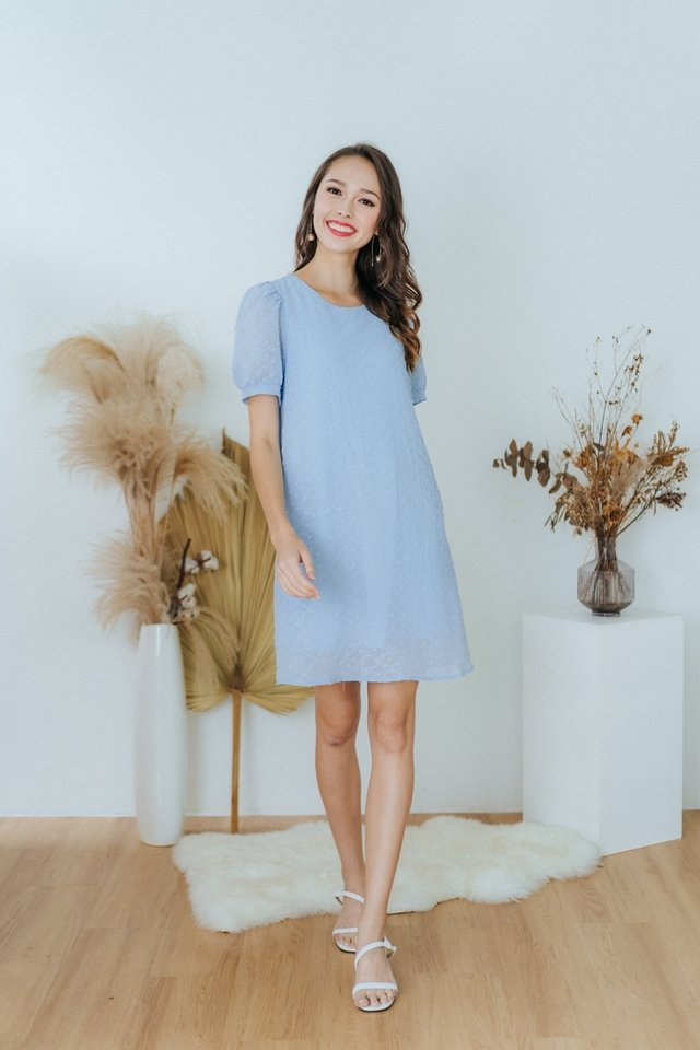 Meline Textured Swiss Dot Shift Dress in Powder Blue