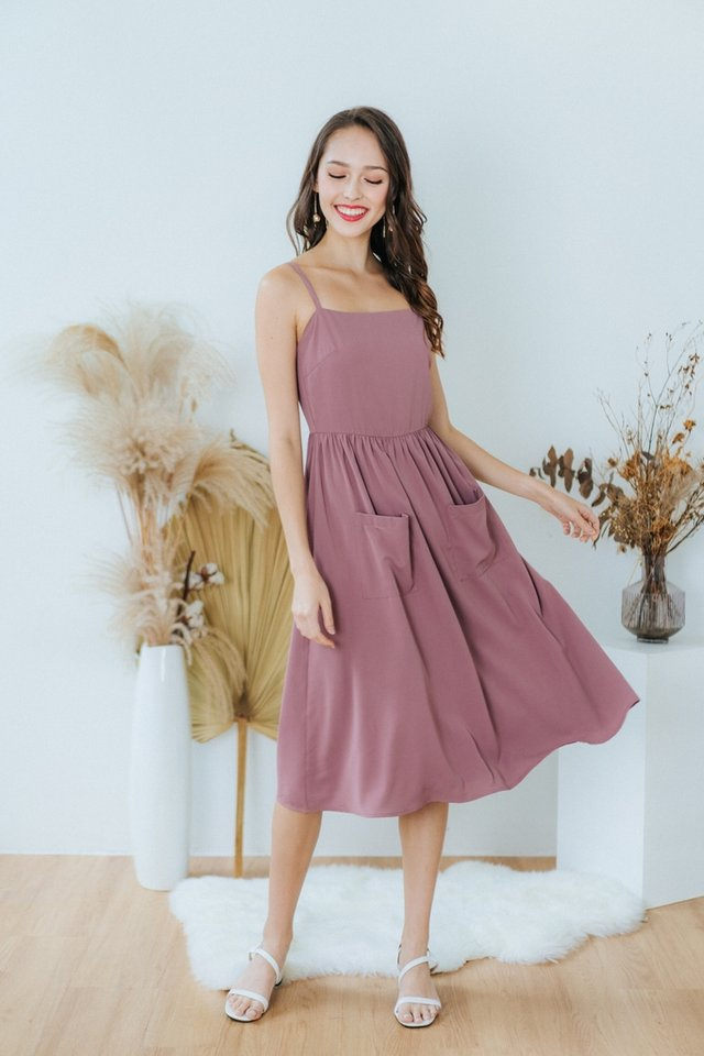 Marion Pocket Midi Dress in Mauve