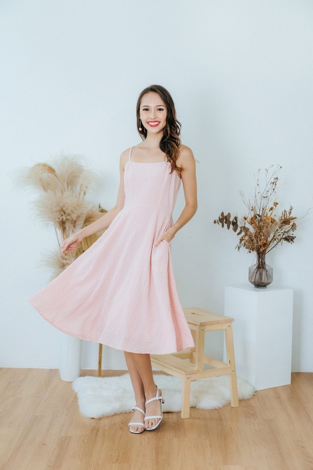 Lidia Textured Flare Midi Dress in Pink