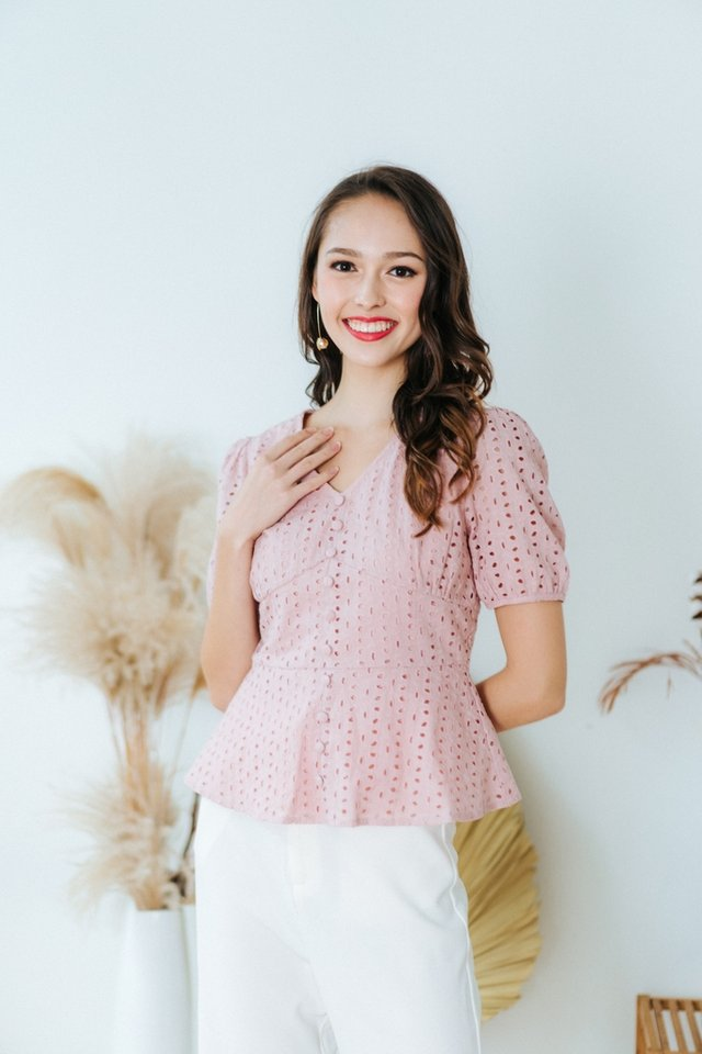 Delphine Eyelet Button Top in Blush Pink