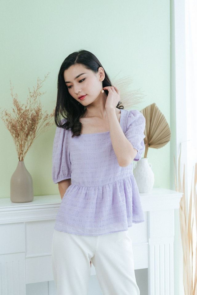 Merritt Textured Babydoll Top in Lilac