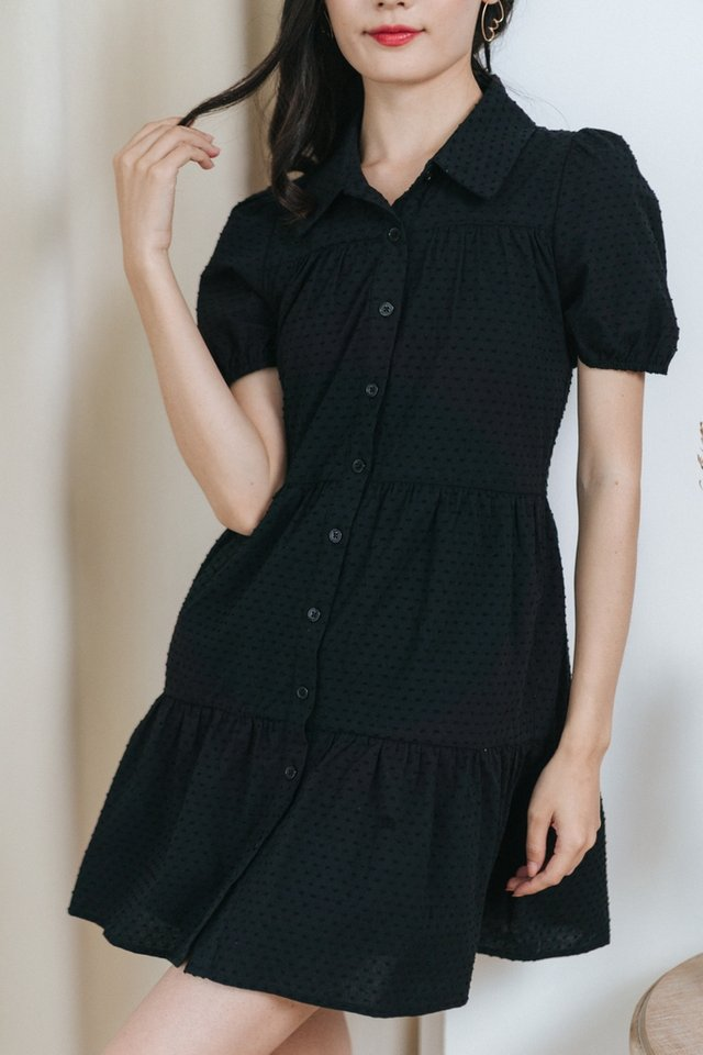 *BACKORDER* Dionne Swiss Dot Button Dress in Black